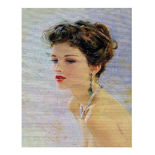 Molly Картина по номерам К. Разумов: Девушка с изумрудными серьгами, 40*50 см