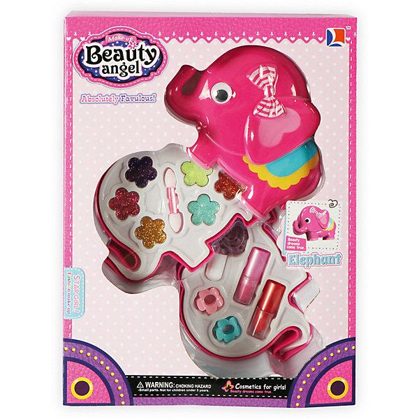 Детская декоративная косметика Beauty Angel Слоник-2Косметика<br>Характеристики:<br><br>• Вид игрушек: детская косметика<br>• Пол: для девочки<br>• Материал: пластик, натуральные компоненты и красители<br>• Цвет: оттенки розового, голубой, желтый, зеленый, оранжевый и др.<br>• Комплектация: <br> тени для век с блестками – 6 тонов<br> губная помада – 2 тона<br> лак для ногтей – 1 тон<br> кисточка – 1 шт.<br>• Форма футляра: слоник<br>• Размер упаковки (Д*Ш*В): 37*4,8*35 см<br>• Вес: 362 г<br>• Упаковка: картонная коробка с блистером<br><br>Игровой косметический набор Слоник, Beauty Angel от всемирно известного торгового бренда Dileny, который занимается разработкой, дизайном и выпуском детской декоративной косметики с учетом модных и стильных тенденций мира моды. Линейка наборов Beauty Angel представляет собой косметические наборы в состав которых входят как матовые, так и перламутровые оттенки, аксессуары и инструменты для нанесения макияжа. <br><br>Декоративная косметика от Dileny легко наносится, ложится ровным слоем, не осыпается и легко смывается либо теплой водой, либо детским косметическим маслом. Косметика обладает повышенными гипоаллергенными свойствами и легким ароматом. Игровой косметический набор Слоник, Beauty Angel состоит из 6 оттенков теней для век с блестками, 2 оттенков губной помады, лака для ногтей и кисточки. Футляр с двумя отделениями выполнен в форме слоника.<br><br>Игровой косметический набор Слоник, Beauty Angel станет идеальным подарком для девочки к любому празднику.<br><br>Игровой косметический набор Слоник, Beauty Angel можно купить в нашем интернет-магазине.