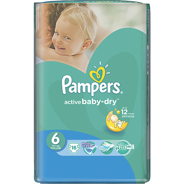 Фотография товара подгузники Pampers Active Baby-Dry, 15+ кг, 6 размер, 16 шт., Pampers (5419071)