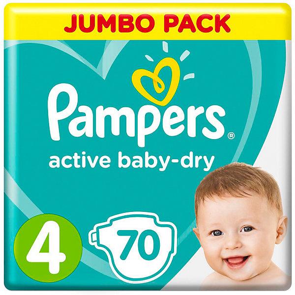 Подгузники Pampers Active Baby-Dry, 8-14 кг, 4 размер, 70 шт., PampersПодгузники классические<br>Характеристики:<br><br>• Пол: универсальный<br>• Тип подгузника: одноразовый<br>• Коллекция: Active Baby-Dry<br>• Предназначение: для использования в любое время суток <br>• Размер: 4<br>• Вес ребенка: от 8 до 14 кг<br>• Количество в упаковке: 70 шт.<br>• Упаковка: пакет<br>• Размер упаковки: 28,3*11,8*42,7 см<br>• Вес в упаковке: 2 кг 296 г<br>• Эластичные застежки-липучки<br>• Быстро впитывающий слой<br>• Мягкий верхний слой<br>• Сохранение сухости в течение 12-ти часов<br><br>Подгузники Pampers Active Baby-Dry, 8-14 кг, 4 размер, 70 шт., Pampers – это линейка классических детских подгузников от Pampers, которая сочетает в себе качество и безопасность материалов, удобство использования и комфорт для нежной кожи малыша. Подгузники предназначены для младенцев весом до 14 кг. Инновационные технологии и современные материалы обеспечивают этим подгузникам Дышащие свойства, что особенно важно для кожи малыша. <br><br>Впитывающие свойства изделию обеспечивает уникальный слой, состоящий из жемчужных микрогранул. У подгузников предусмотрена эластичная мягкая резиночка на спинке. Широкие липучки с двух сторон обеспечивают надежную фиксацию. Подгузник имеет мягкий верхний слой, который обеспечивает не только комфорт, но и защищает кожу ребенка от раздражений. Подгузник подходит как для мальчиков, так и для девочек. <br><br>Подгузники Pampers Active Baby-Dry, 8-14 кг, 4 размер, 70 шт., Pampers можно купить в нашем интернет-магазине.<br>Ширина мм: 263; Глубина мм: 116; Высота мм: 414; Вес г: 1782; Возраст от месяцев: 6; Возраст до месяцев: 24; Пол: Унисекс; Возраст: Детский; SKU: 5419079;