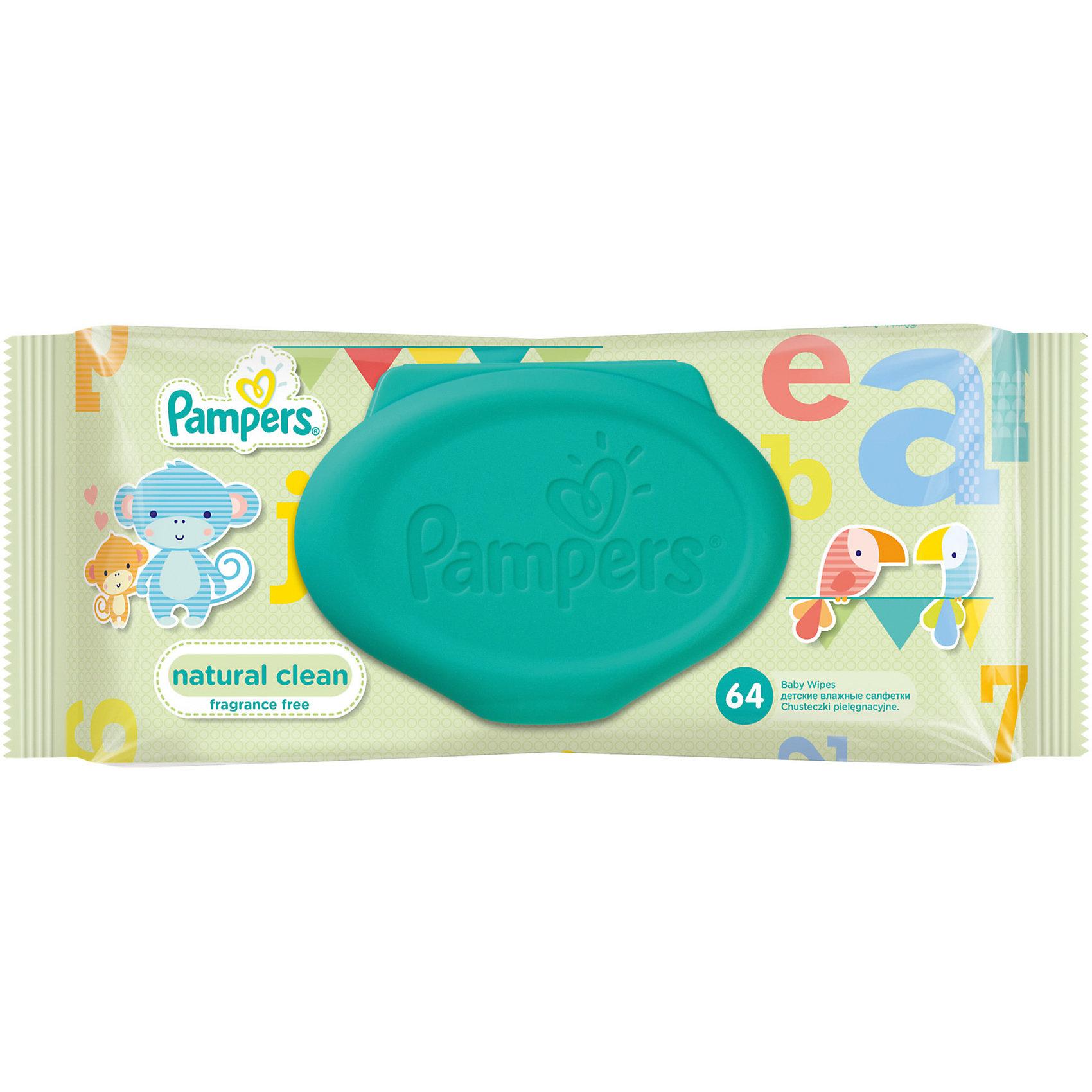 Салфетки детские влажные Pampers  Natural Clean, 64 шт., Pampers (-)