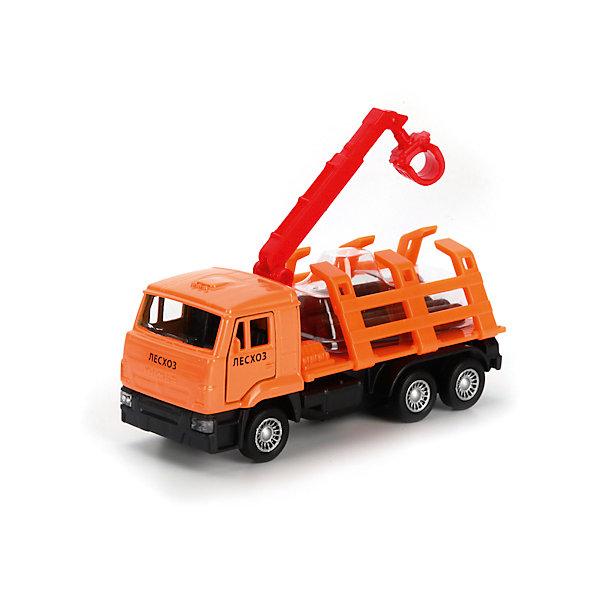 Машина Камаз Лесовоз, ТЕХНОПАРКМашинки<br>Характеристики:<br><br>• тип игрушки: машина;<br>• возраст: от 3 лет;<br>• размер: 5х17х14 см;<br>• цвет: оранжевый;<br>• материал: металл, пластик;<br>• бренд: Технопарк;<br>• страна производителя: Китай.<br><br>Машина Технопарк «Камаз Лесовоз» - это  грузовая машина, предназначенная для погрузки и транспортировки брёвен. Металлическая модель марки Камаз выполнена во внешнем сходстве со своим реальным прототипом, оснащена инерционным ходом, позволяющим придавать ей ускорение и открывающимися дверями кабины, что придаёт ей реалистичность, а игре правдоподобность. <br><br>Тематические игры с интересными сюжетами разбудят воображение ребёнка, а манипуляции с игрушкой потренируют мелкую моторику пальцев рук. Масштабные модели от компании «Технопарк» отличаются качественными ударопрочными материалами, продлевающими долговечность изделия тщательным исполнением со вниманием ко всем деталям, и имеют требуемые сертификаты соответствия для детских игрушек.<br><br>Машину Технопарк  «Камаз Лесовоз» можно купить в нашем интернет-магазине.<br>Ширина мм: 50; Глубина мм: 140; Высота мм: 170; Вес г: 160; Возраст от месяцев: 36; Возраст до месяцев: 84; Пол: Мужской; Возраст: Детский; SKU: 5420341;