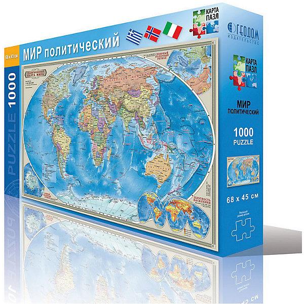 Карта-пазл Мир политический 45*68 см, М 1:45 млн, 1000 деталейПазлы классические<br>Характеристики товара:<br><br>• материал: ламинированный картон<br>• возраст: от 6 лет<br>• количество деталей: 1000<br>• габариты упаковки: 23х6х35 см<br>• размер карты: 45х68 см<br>• вес: 250 г<br>• страна производитель: Россия<br><br>Ваш ребенок в процессе игры с большим интересом изучит политико-административное устройство мира и познакомится со столицами государств. Пазлы с картой мира позволяют узнать, какие океаны омывают материки и острова. Это отличный метод познакомиться с особенностями географии уже с малого возраста. Играя, ребенок развивает воображение, пространственное мышление, внимание, память и способность анализировать!<br><br>Товар Карту-пазл Мир политический 45*68 см, М 1:45 млн, 1000 деталей можно купить в нашем интернет-магазине.<br>Ширина мм: 345; Глубина мм: 229; Высота мм: 52; Вес г: 445; Возраст от месяцев: 72; Возраст до месяцев: 108; Пол: Унисекс; Возраст: Детский; SKU: 5422956;