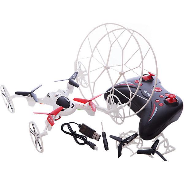 Квадрокоптер 2-в-1 GYRO-Racer, 1toyКвадрокоптеры<br>Квадрокоптер размером 16*16см,<br>управляется на частоте 2,4GHz, <br>имеет два скоростных<br>режима, отлично летает как <br>дома, так и на улице.<br>В комплект входят запасные колёса, которые легко устанавливаются на корпус квадрокоптера, превращая его в модель, передвигающуюся по земле. <br>Также квадрокоптер имеет режим Автоматического возвращения в сторону пилота и Программируемый план полёта.<br>Ширина мм: 410; Глубина мм: 75; Высота мм: 270; Вес г: 611; Возраст от месяцев: 72; Возраст до месяцев: 192; Пол: Мужской; Возраст: Детский; SKU: 5423272;