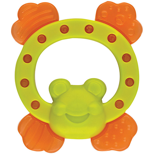 Игрушка с водой Лягушка, KurnosikiПустышки<br>Характеристики:<br><br>• Назначение: прорезыватель<br>• Пол: универсальный<br>• Материал: пластик, вода<br>• Цвет: зеленый, оранжевый<br>• Наличие выпуклых элементов разной формы и фактуры <br>• Вес: 105 г<br>• Параметры (Д*Ш*В): 10,5*9*2,5 см <br>• Упаковка: блистер c с европодвесом<br><br>Игрушка с водой Лягушка, Kurnosiki выполнена из пластика различной фактуры. Корпус прорезывателя представляет собой лягушку, лапки которой выполнены из мягкого полимера, наполненного водой. Поверхность лягушки с выпуклыми элементами различной формы обеспечивает массаж десен, а лапки с водой обладают охлаждающим эффектом. <br><br>Прорезыватель имеет эргономичную форму, благодаря чему малышу будет не только удобно держать в руках, но и развивать хватательный рефлекс. За счет деталей, выполненных в ярких цветах, прорезыватель позволит развивать цветовое и зрительное восприятие у ребенка.<br><br>Игрушку с водой Лягушка, Kurnosiki можно купить в нашем интернет-магазине.<br>Ширина мм: 20; Глубина мм: 110; Высота мм: 170; Вес г: 78; Возраст от месяцев: 4; Возраст до месяцев: 18; Пол: Унисекс; Возраст: Детский; SKU: 5428663;
