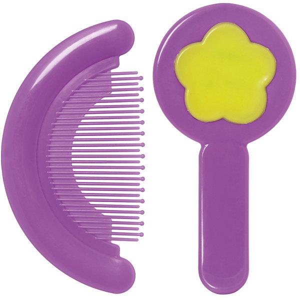 Набор: расческа и щетка, Kurnosiki, фиолетовыйУход за ребенком<br>Характеристики:<br><br>• Наименование: расческа и щетка<br>• Материал: пластик, нейлон<br>• Пол: для девочки<br>• Цвет: фиолетовый, желтый<br>• Рисунок: цветок<br>• Комплектация: расческа, щетка<br>• Мягкая щетина и закругленные зубцы<br>• Отсутствие острых углов<br>• Вес: 68 г<br>• Параметры (Д*Ш*В): 15*3*11 см <br>• Особенности ухода: сухая и влажная чистка<br><br>Набор: расческа и щетка, Kurnosiki, фиолетовый выполнены из гипоаллергенных материалов, которые не раздражают нежную кожу малыша. Расческа выполнена в форме гребня, зубцы имеют закругленные концы, благодаря чему можно быстро и без особых усилий привести в порядок детские волосики. У щетки щетина выполнена из нейлона средней жесткости, что обеспечивает легкий массаж кожи головы. Набор выполнен в ярком цвете. <br><br>Набор: расческу и щетку, Kurnosiki, фиолетовый можно купить в нашем интернет-магазине.<br>Ширина мм: 60; Глубина мм: 170; Высота мм: 190; Вес г: 97; Возраст от месяцев: 4; Возраст до месяцев: 36; Пол: Женский; Возраст: Детский; SKU: 5428687;