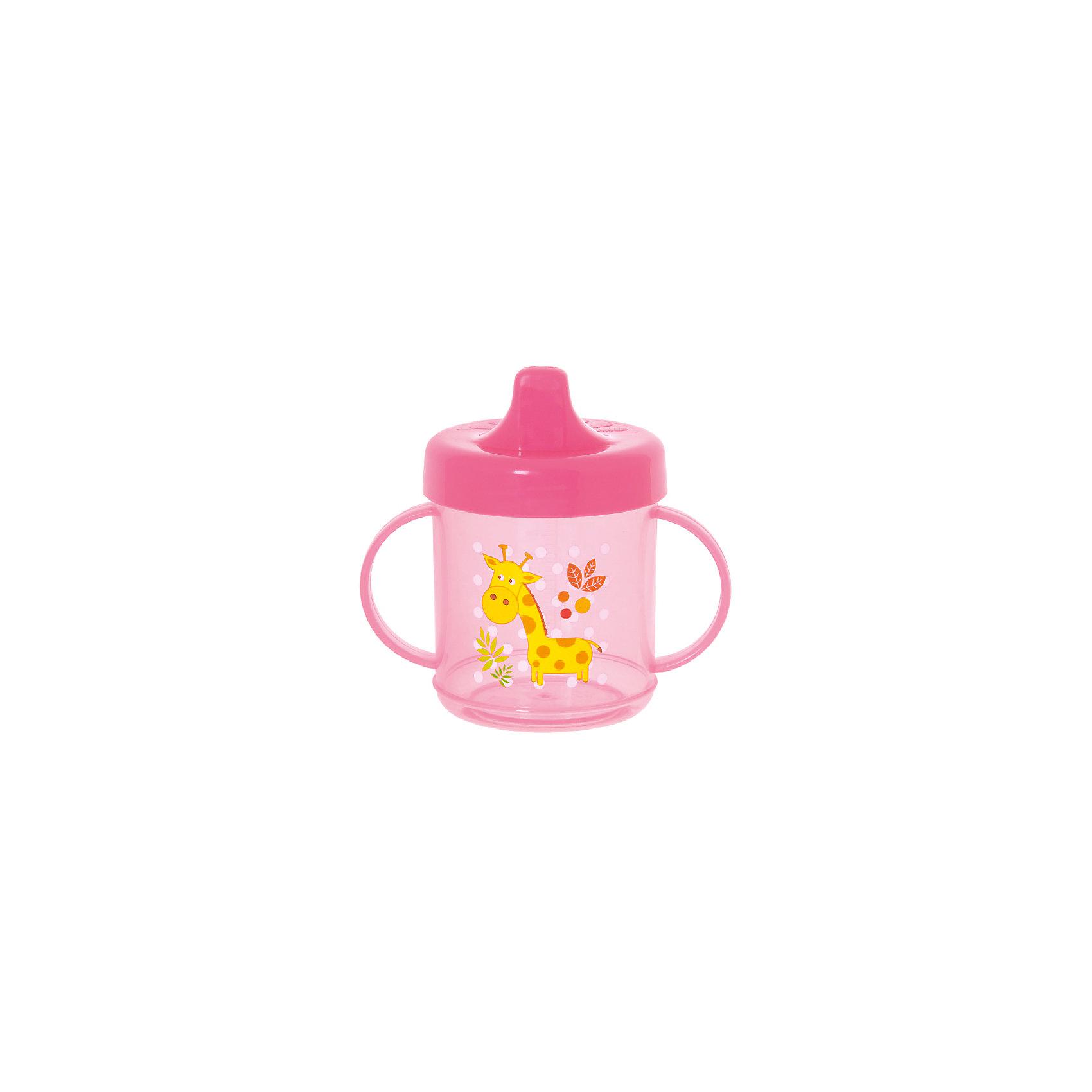 Курносики Поильник с ручками, 200 мл, Kurnosiki, розовый