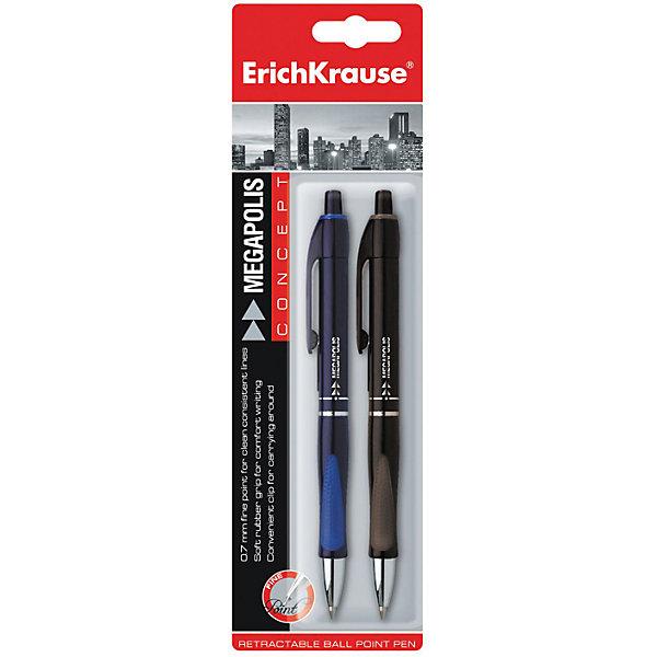 Ручки шариковые автоматические MEGAPOLIS CONCEPT, блистер, (набор из 2 шт.), Erich KrauseРучки<br>Ручки шариковые автоматические MEGAPOLIS CONCEPT, блистер, (набор из 2 шт.), Erich Krause (Эрих Краузе). <br><br>Характеристика: <br><br>• Материал: пластик.<br>• Длина ручки: 14,5 см.<br>• Размер упаковки: 22 см x 6 см x 1 см.<br>• Толщина линии 0.35±0.02 мм.<br>• В комплекте 2 ручки: синяя и черная.<br>• Пишущий узел 0,7 мм.<br>• Цвет корпуса соответствует цвету чернил. <br>• Удобная резиновая накладка. <br><br>Автоматическая ручка Megapolis Concept сочетает в себе лаконичный стильный дизайн и отличное качество письма. Практичная резиновая накладка обеспечивает оптимальную постановку пальцев, препятствуя скольжению, что позволяет ручке занимать правильное положение.<br><br>Ручки шариковые автоматические MEGAPOLIS CONCEPT, блистер, (набор из 2 шт.), Erich Krause (Эрих Краузе), можно купить в нашем интернет-магазине.<br>Ширина мм: 60; Глубина мм: 220; Высота мм: 15; Вес г: 30; Возраст от месяцев: 84; Возраст до месяцев: 2147483647; Пол: Унисекс; Возраст: Детский; SKU: 5436317;