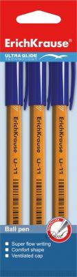 Erich Krause Ручка шариковая Ultra Glide Technology U-11 Yellow (набор из 3 шт.), Erich Krause ручка шариковая erich krause ultra glide technology u 11 синяя