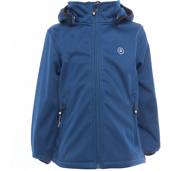 Куртка для мальчика Color KidsВерхняя одежда<br>Характеристики товара:<br><br>• цвет: синий<br>• состав: 100 % полиэстер, softshell клееный с флисом<br>• без утеплителя<br>• температурный режим: от +5°до +15°С<br>• мембранная технология<br>• водонепроницаемость: 5000 мм<br>• воздухопроницаемость: 1000 г/м2/24ч<br>• ветрозащитный<br>• регулируемый низ куртки<br>• светоотражающие детали<br>• застежка: молния<br>• съёмный капюшон на кнопках<br>• защита подбородка<br>• два кармана на молнии<br>• логотип<br>• страна бренда: Дания<br><br>Эта симпатичная и удобная куртка сделана из непромокаемого легкого материала, поэтому отлично подойдет для дождливой погоды в весенне-летний сезон. Она комфортно сидит и обеспечивает ребенку необходимое удобство. Очень стильно смотрится. <br><br>Куртку для мальчика от датского бренда Color Kids (Колор кидз) можно купить в нашем интернет-магазине.<br>Ширина мм: 356; Глубина мм: 10; Высота мм: 245; Вес г: 519; Цвет: синий; Возраст от месяцев: 18; Возраст до месяцев: 24; Пол: Мужской; Возраст: Детский; Размер: 92,104,98,152,140,122,116,110; SKU: 5443270;