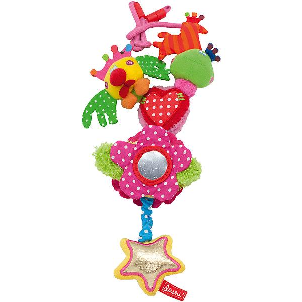 Ожерелье-бусы для мамы и малыша Я Люблю тебя, DushiВ дорогу<br>Характеристики:<br><br>• бусы носит мама, с развивающими элементами играет малыш;<br>• ожерелье оснащено многочисленными атрибутами для обучения, игры и развития;<br>• плюшевые игрушки подвешены таким образом, чтобы ребенок поочередно изучал каждую из них;<br>• шуршащие, шелестящие вставки создают шумы, развивают слух маленького ребенка;<br>• безопасное зеркальце позволяет малышу рассматривать свое отражение;<br>• подвеска-дергунчик опускает звездочку и возвращает ее в исходное положение;<br>• размер игрушки: 29х19х4,5 см;<br>• вес: 200 г;<br>• размер упаковки: 28х11х2,5 см.<br><br>Ожерелье-бусы для мамы и малыша Я Люблю тебя, Dushi можно купить в нашем интернет-магазине.<br>Ширина мм: 200; Глубина мм: 200; Высота мм: 50; Вес г: 250; Возраст от месяцев: 0; Возраст до месяцев: 12; Пол: Унисекс; Возраст: Детский; SKU: 5445051;
