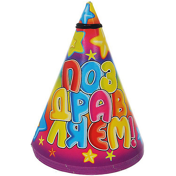 Колпак праздничный Звёзды, 8шт., Веселая ЗатеяДетские шляпы и колпаки<br>Колпак праздничный Звёзды, 8шт., Веселая Затея<br><br>Характеристики:<br><br>• Количество: 8 штук<br>• Крепление: шнурок под шеей<br>• Картинка: надпись «Поздравляем»<br><br>Этот яркий колпак может стать одним из важных атрибутов детского праздника. Он подарит вашему ребенку радость и добавит праздничной атмосферы к обстановке. Его удобно надевать на голову, закрепив эластичный шнур под шеей. Несколько таких колпаков смогут позабавить вашего ребенка и его друзей и добавят веселья.<br><br>Колпак праздничный Звёзды, 8шт., Веселая Затея можно купить в нашем интернет-магазине.<br>Ширина мм: 200; Глубина мм: 240; Высота мм: 130; Вес г: 70; Возраст от месяцев: 36; Возраст до месяцев: 2147483647; Пол: Унисекс; Возраст: Детский; SKU: 5445420;