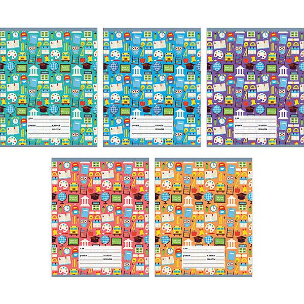 Комплект тетрадей Школьная пора (10 шт), 18 листов, Канц-ЭксмоТетради<br>Характеристики комплекта тетрадей Школьная пора:<br><br>• размеры: 20.2х16.3х3.5 см<br>• количество листов: 18 шт.<br>• разлиновка: линейка<br>• формат: А 5 <br>• комплектация: тетрадь<br>• бумага: офсет, плотностью 60 г/м2.<br>• обложка: мелованный картон , выборочный лак.<br>• бренд: Канц-Эксмо<br>• страна бренда: Россия<br>• страна производителя: Россия<br><br>Комплект тетрадей Школьная пора от производителя Канц-Эксмо выполнен в формате А5, в пестрых и ярких цветах. Количество листов 18, тетради в линейку с полями. Крепление: скрепка. Обложка у изделий плотная - мелованный картон, выборочный лак.<br><br>Комплект тетрадей Школьная пора от производителя Канц-Эксмо можно купить в нашем интернет-магазине.<br>Ширина мм: 210; Глубина мм: 165; Высота мм: 20; Вес г: 52; Возраст от месяцев: 72; Возраст до месяцев: 2147483647; Пол: Унисекс; Возраст: Детский; SKU: 5448394;