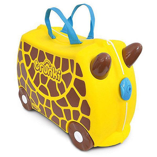 Чемодан на колесиках  Жираф Джери, TRUNKIЧемоданы<br>Характеристики чемодан на колесиках Жираф Джери:<br><br>• возраст: от 3 лет<br>• пол: универсальный<br>• цвет: желтый и черный <br>• допустимый вес эксплуатации : 50 кг.<br>• состав: пластик, текстиль.<br>• объем: 18 л.<br>• размер чемодана: 46х21х31 см.<br>• вес: 1.7 кг. <br>• упаковка: картонная коробка.<br>• бренд: Trunki<br>• страна обладатель бренда: Великобритания.<br><br>У чемоданчика есть забавные ручки в виде рожек, для того, чтобы ребенок мог держаться во время катания. Удобная прочная ручка из текстиля позволяет родителям возить чемодан или катать ребенка. Несмотря на забавный внешний вид, чемодан Транки очень прочен и функционален. Вместительная конструкция весит меньше 2 кг. Выемка в верхней части корпуса служит седлом для юных гонщиков.<br><br>Чемодан на колесиках Жираф Джери торговой марки Транки (Trunki) можно купить в нашем интернет-магазине.
