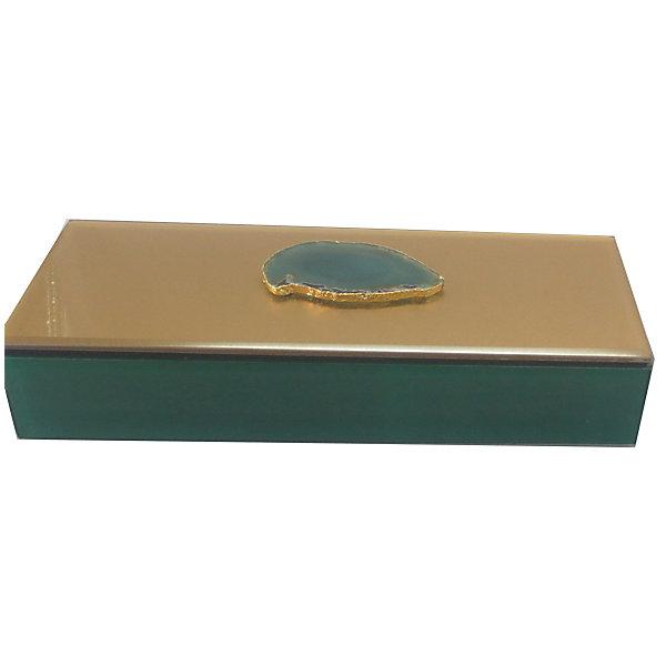 Феникс-Презент Шкатулка Дымчато-зеленый агат из стекла для мелочей,