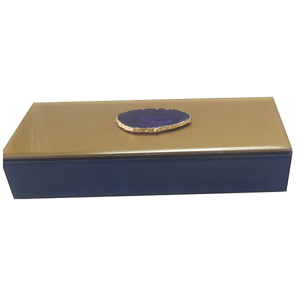 Феникс-Презент Шкатулка Фиолетовый агат из стекла для мелочей,