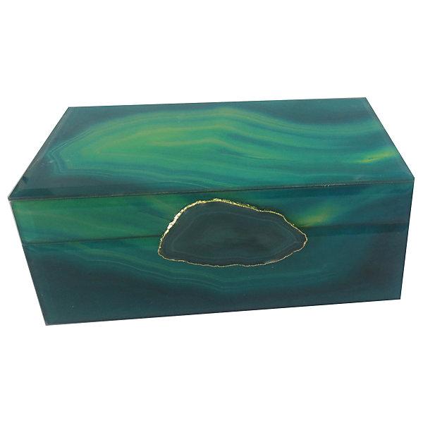 Феникс-Презент Шкатулка Зеленый агат из стекла для мелочей, Феникс-Презент комплект алия им агат