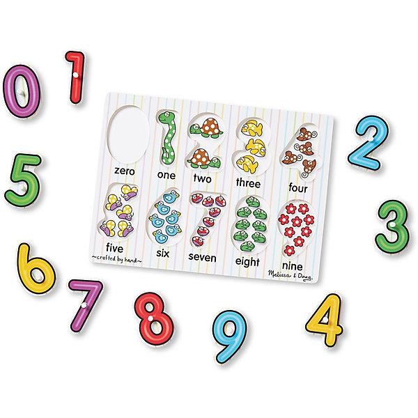 Мои первые пазлы Цифры, Melissa &amp; DougПазлы для малышей<br>Мои первые пазлы Цифры, Melissa &amp; Doug<br><br>Характеристики:<br><br>• В набор входит: рамка, детали пазла<br>• Количество деталей: 10 шт.<br>• Размер пазла: 30 * 1 * 22 см.<br>• Состав: дерево, картон, ПВХ<br>• Вес: 360 г.<br>• Для детей в возрасте: от 2 до 4 лет<br>• Страна производитель: Китай<br><br>Цифры от 0 до 9 расположены структурировано, они отлично вырезаны по контуру избегая острых углов. В рамке для пазлов на месте цифр расположены веселые картинки с животными и цветами, которые помогут малышу научиться считать и визуально воспринимать количество предметов и соответствующую им цифру. <br><br>Ребёнок сможет доставать цифры и играть с ними, а в дальнейшем сможет и составлять более сложные цифры чтобы запоминать номер своего дома или квартиры. Также пазл можно использовать как сортер-считалочку, ведь каждая цифра входит только в свой отсек, а цифры расположены по порядку.<br><br>Мои первые пазлы Цифры, Melissa &amp; Doug можно купить в нашем интернет-магазине.<br>Ширина мм: 300; Глубина мм: 10; Высота мм: 220; Вес г: 363; Возраст от месяцев: 24; Возраст до месяцев: 2147483647; Пол: Унисекс; Возраст: Детский; SKU: 5451055;