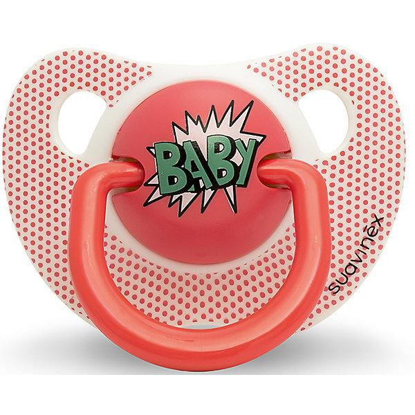 - Пустышка силиконовая BABY Baby Art, 0-6 мес., Suavinex, красный