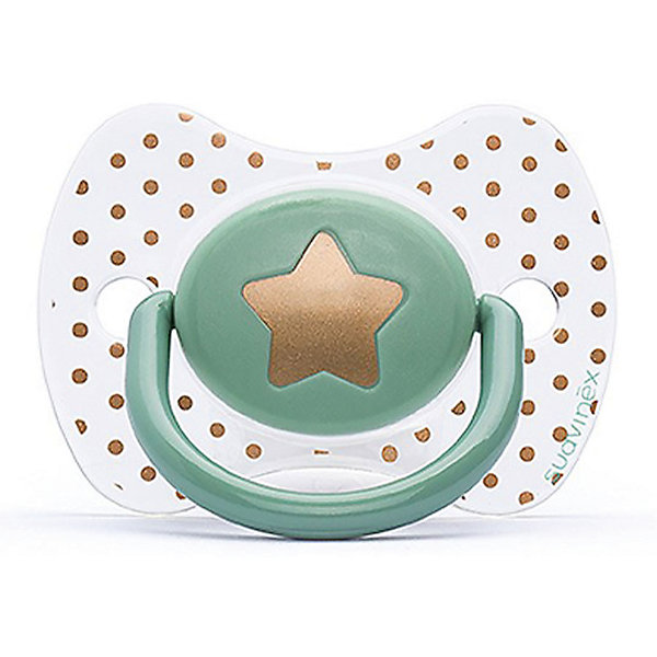 Пустышка силиконовая Haute Couture, от 4 мес, Suavinex, зеленый звездаПустышки<br>Характеристики:<br><br>• Наименование: пустышка<br>• Рекомендуемый возраст: от 0 до 4 месяцев<br>• Пол: универсальный<br>• Материал: силикон, пластик<br>• Цвет: зеленый, белый, золотистый<br>• Рисунок: звезда, горошинки<br>• Форма: физиологическая<br>• Наличие вентиляционных отверстий <br>• Кольцо для держателя<br>• С эффектом позолоты<br>• Вес: 31 г<br>• Параметры (Д*Ш*В): 6,1*6,1*9,1 см <br>• Особенности ухода: можно мыть в теплой воде, регулярная стерилизация <br><br>Пустышка Haute Couture от 0 до 4 мес, Suavinex, зеленый звезда изготовлена испанским торговым брендом, специализирующимся на выпуске товаров для кормления и аксессуаров новорожденным и младенцам. Продукция от Suavinex разработана с учетом рекомендаций педиатров и стоматологов, что гарантирует качество и безопасность использованных материалов. <br><br>Пластик, из которого изготовлено изделие, устойчив к появлению царапин и сколов, благодаря чему пустышка длительное время сохраняет свои гигиенические свойства. Форма у соски способствует равномерному распределению давления на небо, что обеспечивает правильное формирование речевого аппарата. <br><br>Пустышка имеет классическую форму, для прикрепления держателя предусмотрено кольцо. Изделие выполнено в брендовом дизайне, с изображением звезды. Рисунок с эффектом позолоты нанесен по инновационной технологии, которая обеспечивает стойкость рисунка даже при длительном использовании и частой стерилизации.<br><br>Пустышку Haute Couture от 0 до 4 мес, Suavinex, зеленый звезда можно купить в нашем интернет-магазине.<br>Ширина мм: 61; Глубина мм: 61; Высота мм: 91; Вес г: 31; Возраст от месяцев: 0; Возраст до месяцев: 24; Пол: Унисекс; Возраст: Детский; SKU: 5451273;