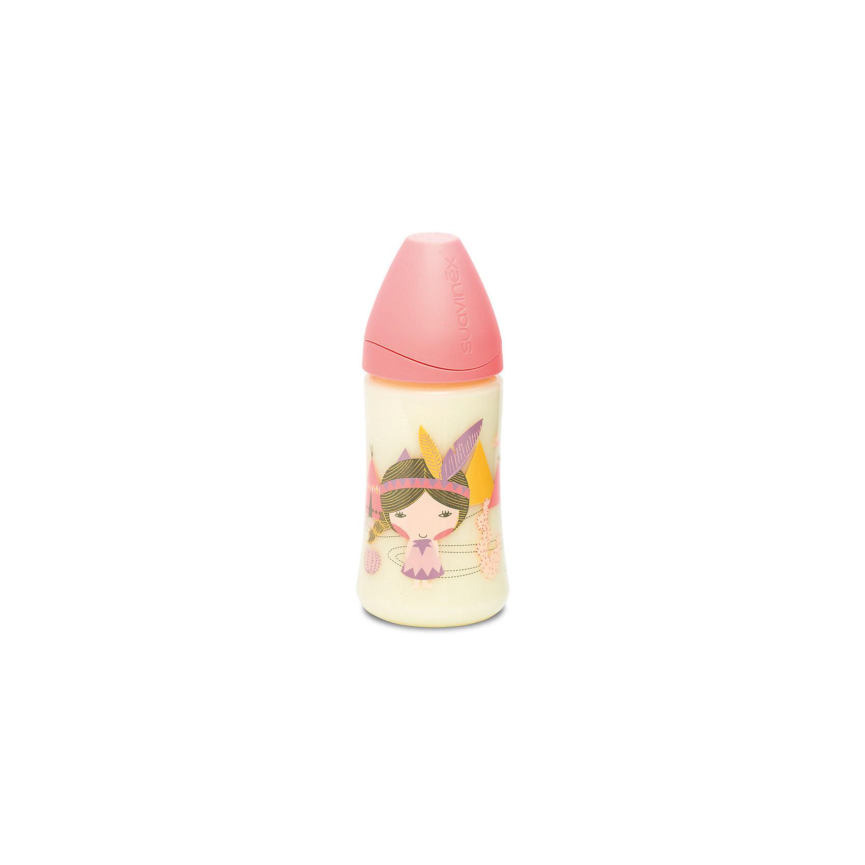 Бутылка 270мл от 0мес с соской 3потока, Suavinex, розовый индеец