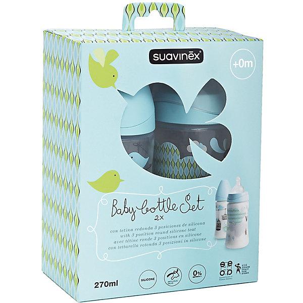 Набор бутылочек 270мл от 0 мес., 2шт., Suavinex, голубой с птичкамиБутылочки и аксессуары<br>Характеристики:<br><br>• Наименование: бутылка для кормления<br>• Рекомендуемый возраст: от 0 до 24 месяцев<br>• Пол: для мальчика<br>• Объем: 270 мл<br>• Материал: силикон, пластик<br>• Цвет: голубой<br>• Рисунок: птички<br>• Форма соски: круглая<br>• Поток у соски: медленный<br>• Комплектация: 2 бутылочки по 270 мл, соски, колпачки<br>• Наличие антиколикового клапана<br>• Горлышко бутылки адаптировано под любую форму соски данного производителя<br>• Вес: 210 г<br>• Параметры (Д*Ш*В): 15*7*17,5 см <br>• Особенности ухода: регулярная стерилизация и своевременная замена<br><br>Набор бутылочек 270 мл от 0 мес., 2 шт., Suavinex, голубой с птичками изготовлен испанским торговым брендом, специализирующимся на выпуске товаров для кормления новорожденных и младенцев. Продукция от Suavinex разработана с учетом рекомендаций педиатров и стоматологов, что гарантирует не только качество и безопасность использованных материалов, но и обеспечивает правильное формирование неба. <br><br>Бутылочки выполнены с широкими горлышками, что облегчает уход за ними. Силиконовые соски круглой формы длительное время сохраняют свои свойства: не рассасываются и не слипаются во время кормления. <br><br>Набор бутылочек 270 мл от 0 мес., 2шт., Suavinex, голубой с птичками выполнен в брендовом дизайне с изображением птичек. Рисунок устойчив к появлениям царапин и выгоранию цвета даже при частой стерилизации. Набор бутылочек 270 мл от 0 мес., 2 шт., Suavinex, голубой с птичками станет непревзойденным аксессуаром для кормления вашего малыша.<br><br>Набор бутылочек 270 мл от 0 мес., 2 шт., Suavinex, голубой с птичками можно купить в нашем интернет-магазине.<br>Ширина мм: 150; Глубина мм: 70; Высота мм: 175; Вес г: 67; Возраст от месяцев: 0; Возраст до месяцев: 24; Пол: Мужской; Возраст: Детский; SKU: 5451316;