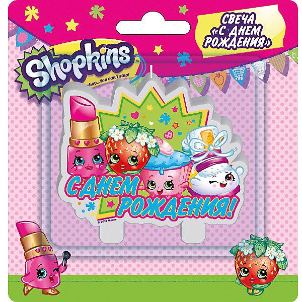 Росмэн Свеча С днем рождения, Shopkins страна карнавалия скатерть с днем рождения смайлы 182 x 137 см 325927