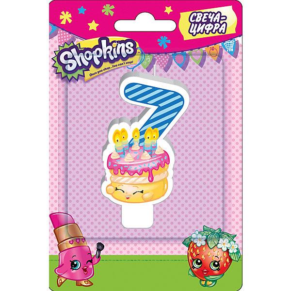 Росмэн Свеча-цифра 7, 8 см, Shopkins disney свеча в торт с днем рождения цифра 8 холодное сердце