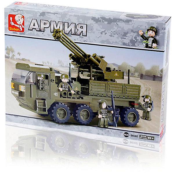 Sluban Конструктор Армия: Грузовик с зенитной установкой, 306 деталей, Sluban бассейн с установкой
