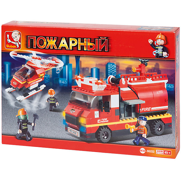 Конструктор Пожарный: Вертолёт и пожарная машина с цистерной, 409 деталей, SlubanПластмассовые конструкторы<br>Конструктор Пожарный: Вертолёт и пожарная машина с цистерной, 409 деталей, Sluban (Слубан)<br><br>Характеристики:<br><br>• возраст: от 6 лет<br>• пожарная машина и вертолет из конструктора<br>• количество фигурок: 4<br>• количество деталей: 409<br>• материал: пластик<br>• размер упаковки: 6,7х28,5х42,5 см<br>• вес: 830 грамм<br><br>Для спасения людей из пожара нужна надежная техника и транспортные средства. Из конструктора Sluban ребенок сможет собрать пожарную машину с цистерной, вертолет и все необходимые аксессуары. Конечно же, не обойдется без отважных спасателей. В комплект входят 4 фигурки, готовых сразу отправиться на помощь. Игра с сюжетно-ролевым конструктором поможет развить воображение, мелкую моторику и усидчивость.<br><br>Конструктор Пожарный: Вертолёт и пожарная машина с цистерной, 409 деталей, Sluban (Слубан) вы можете купить в нашем интернет-магазине.<br>Ширина мм: 425; Глубина мм: 285; Высота мм: 67; Вес г: 830; Возраст от месяцев: 72; Возраст до месяцев: 2147483647; Пол: Мужской; Возраст: Детский; SKU: 5453761;