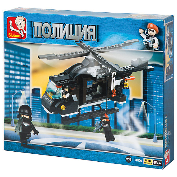 Конструктор Полиция: Вертолёт, 219 деталей, SlubanПластмассовые конструкторы<br>Конструктор Полиция: Вертолёт, 219 деталей, Sluban (Слубан)<br><br>Характеристики:<br><br>• возраст: от 6 лет<br>• полицейский вертолет из конструктора<br>• количество деталей: 219<br>• количество фигурок: 3<br>• материал: пластик<br>• размер упаковки: 5,4х23,7х28,5 см<br>• вес: 380 грамм<br><br>Конструктор Полиция: Вертолёт придется по вкусу каждому ребенку. Из 219 деталей ребенок сможет собрать полицейский вертолет. В комплект входят 2 фигурки оперативников и фигурка пилота. С ними можно придумать самые интересные сценки из жизни полицейских. Игра с сюжетно-ролевым конструктором поможет развить фантазию, воображение, мелкую моторику и усидчивость.<br><br>Конструктор Полиция: Вертолёт, 219 деталей, Sluban (Слубан) вы можете купить в нашем интернет-магазине.<br>Ширина мм: 285; Глубина мм: 237; Высота мм: 54; Вес г: 380; Возраст от месяцев: 72; Возраст до месяцев: 2147483647; Пол: Мужской; Возраст: Детский; SKU: 5453771;
