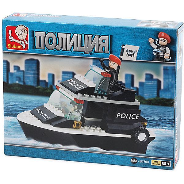 Конструктор Полиция: Катер, 98 деталей, SlubanПластмассовые конструкторы<br>Конструктор Полиция: Катер, 98 деталей, Sluban (Слубан)<br><br>Характеристики:<br><br>• возраст: от 6 лет<br>• полицейский катер из конструктора<br>• количество деталей: 98<br>• количество фигурок: 1<br>• материал: пластик<br>• размер упаковки: 4,5х18,9х23,7 см<br>• вес: 250 грамм<br><br>Полицейский катер поможет быстро догнать и обезвредить преступников в море. Для сборки катера необходимо соединить 98 деталей конструктора. В комплект входит фигурка полицейского. Ребенок сможет разыграть интересные сценки и воплотить в игре самые смелые фантазии. Игра способствует развитию моторики рук, воображения и усидчивости.<br><br>Конструктор Полиция: Катер, 98 деталей, Sluban (Слубан) вы можете купить в нашем интернет-магазине.<br>Ширина мм: 237; Глубина мм: 189; Высота мм: 45; Вес г: 250; Возраст от месяцев: 72; Возраст до месяцев: 2147483647; Пол: Мужской; Возраст: Детский; SKU: 5453774;