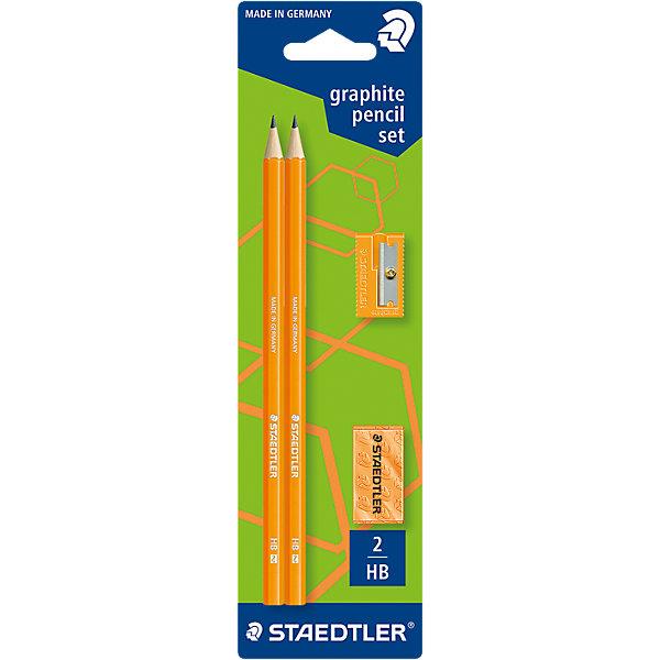 Staedtler Карандаши чернографитовые WOPEX, HB, оранжевый неон, 2 шт. + точилка + ластик, Staedtler набор 6 предметов 2 карандаша hb ластик точилка линейка 15 см блокнот proff racing в картонной коробке