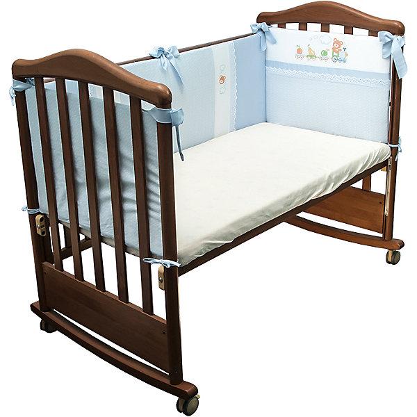 Бортик в кроватку Паровозик, 172/1, Сонный Гномик голубойПостельное белье в кроватку новорождённого<br>Комплектация: Борт со съемным чехлом на молнии из 4 частей для кроватки 120х60<br>Размер, см: 360х41<br>Материал верха: Сатин (100% Хлопок)<br>Наполнитель: Холлофайбер Хард (плотность 400г/кв.м)<br>Ширина мм: 65; Глубина мм: 15; Высота мм: 40; Вес г: 1010; Возраст от месяцев: 0; Возраст до месяцев: 36; Пол: Унисекс; Возраст: Детский; SKU: 5454113;