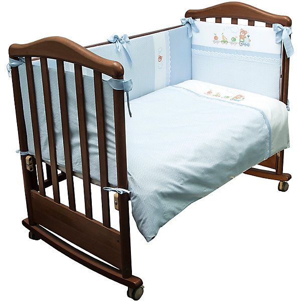 Сонный гномик Детское постельное белье 3 предмета  , Паровозик, голубой