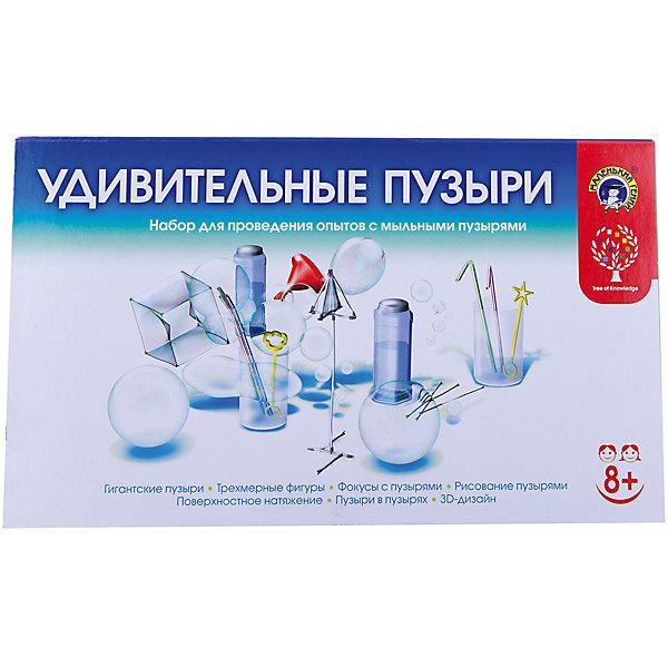 Набор Удивительные пузыри, Маленький генийХимия и физика<br>Набор Удивительные пузыри, Маленький гений.<br><br>Характеристики:<br><br>• В наборе: пластиковый контейнер с крышкой для мыльного раствора; палочки 15 шт; зажимы 15 шт; мерный стакан; гибкая трубка; жесткая трубка; ряд пластиковых желобков; соломинка; резинки 2 шт; глицерин; шнурок; готовый к использованию мыльный раствор <br>• Упаковка: картонная коробка<br>• Размер упаковки: 40х23х6 см.<br><br>Выдувание мыльных пузырей - увлекательное занятие для людей любого возраста. Но, оказывается, с мыльными пузырями можно не просто играть, но и изучать химические и физические свойства веществ! Поможет вам в этом набор для проведения опытов «Удивительные пузыри». При помощи этого набора ваш ребенок узнает много любопытных фактов о мыльных пузырях, а также научится создавать сложные конструкции из мыльной пены— кубической, пирамидальной и других форм. <br><br>В наборе представлены самые разные опыты: Рисование пузырями, Пузыри в пузырях, Фокусы с пузырями, 3D-дизайн, Трехмерные фигуры, Поверхностное натяжение, Гигантские пузыри и др. К набору прилагается инструкция на русском языке с подробным описанием каждого опыта.<br><br>Набор Удивительные пузыри, Маленький гений можно купить в нашем интернет-магазине.<br>Ширина мм: 390; Глубина мм: 240; Высота мм: 65; Вес г: 760; Возраст от месяцев: 96; Возраст до месяцев: 144; Пол: Унисекс; Возраст: Детский; SKU: 5454199;