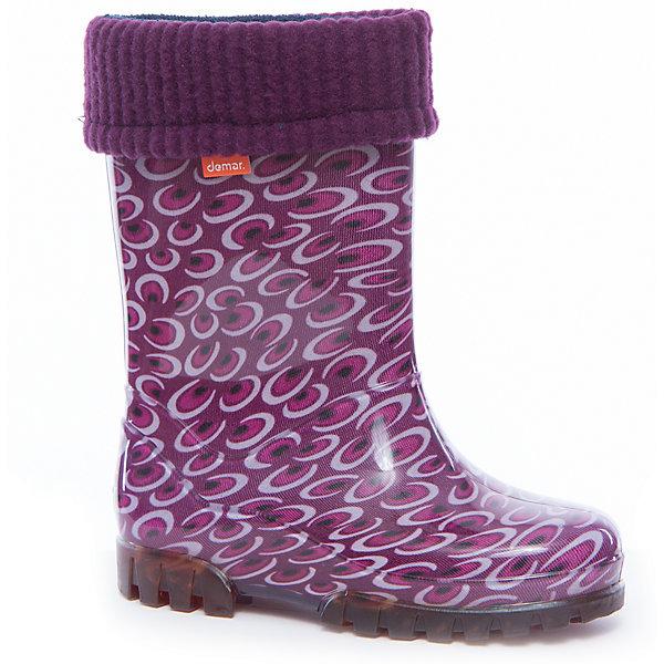 Резиновые сапоги для девочки DEMARРезиновые сапоги<br>Характеристики товара:<br><br>• цвет: фиолетовый<br>• внешний материал: ЭВА<br>• внутренний материал: текстиль<br>• стелька: ворсин<br>• подошва: ЭВА<br>• сезон: демисезон<br>• температурный режим: от 0 до +20<br>• съемный внутренний сапожок<br>• непромокаемые<br>• подошва не скользит<br>• анатомические <br>• высокие<br>• страна бренда: Польша<br>• страна изготовитель: Польша<br><br>Высокие резиновые сапоги для девочки Demar сделаны из плотного надежного материала. Устойчивая подошва с протектором не скользит. <br><br>Есть съемный сапожок. Непромокаемая детская обувь поможет сохранить ноги в тепле и сухости. <br><br>Резиновые сапоги для девочки Demar (Демар) можно купить в нашем интернет-магазине.<br>Ширина мм: 237; Глубина мм: 180; Высота мм: 152; Вес г: 438; Цвет: белый; Возраст от месяцев: 60; Возраст до месяцев: 72; Пол: Женский; Возраст: Детский; Размер: 28/29,34/35,32/33,30/31; SKU: 5454260;