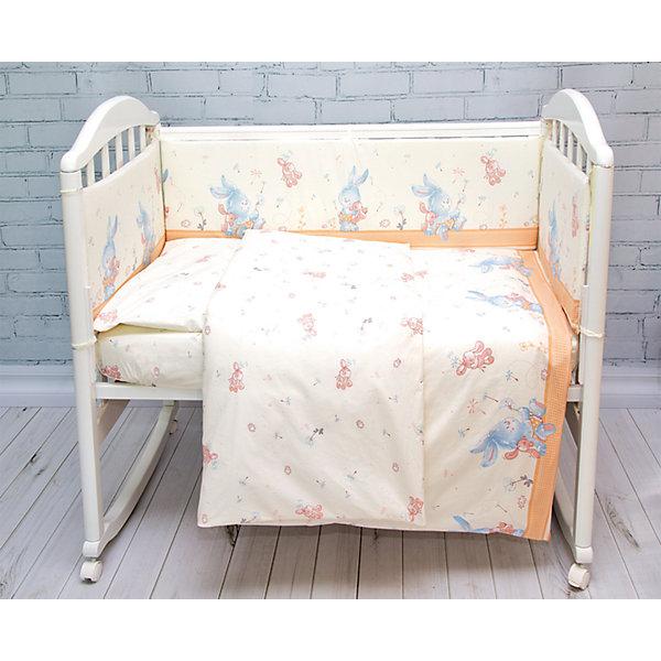 Комплект в кроватку 6 пред., Зайка Baby Nice, бежевыйПостельное белье в кроватку новорождённого<br>Комплект в кроватку 6 пред., Зайка Baby Nice, бежевый<br><br>Характеристики:<br><br>• В набор входит: простынь, пододеяльник, наволочка, борт в кроватку, одеяло, подушка<br>• Состав постельного белья: 100% хлопок<br>• Состав наполнителя постельных принадлежностей: файбер<br>• Размеры: 2 борта 60 * 35 см, 2 борта 120 * 35 см.; простынь, пододеяльник: 112 * 147 см.; подушка, наволочка: 40 * 60 см,; одеяло 105 * 140 см.; <br>• Тип ткани: бязь.<br>• Для детей в возрасте: от 0 мес<br>• Страна производитель: Россия<br><br>Яркий и натуральный набор белья из шести предметов от Объединенной Текстильной Компании, специализирующейся на производстве качественного постельного белья и принадлежностей по приемлемой цене. Нежная расцветка с голубыми и красными зайчиками на кремовом фоне подойдет для девочек. Бортики уберегут нежный сон малышки и не позволят во сне просунуть ручку между перегородкой кроватки. <br><br>Легкое, но теплое одеяло с наполнителем пропускает воздух и позволяет коже дышать. Невысокая прямоугольная подушка обеспечит наиболее удобное положение головы малышки и поможет ей отлично выспаться! Все составные части набора изготовлены из 100% хлопка, приятны к прикосновению и не вызывают аллергии. Набор станет отличным подарком для новорожденного и включает все необходимое для сна ребёнка. Добавьте атмосферы уюта и комфорта вместе с новым набором постельного белья!<br><br>Комплект в кроватку 6 пред., Зайка Baby Nice, бежевый можно купить в нашем интернет-магазине<br>Ширина мм: 350; Глубина мм: 600; Высота мм: 230; Вес г: 1200; Возраст от месяцев: 0; Возраст до месяцев: 36; Пол: Унисекс; Возраст: Детский; SKU: 5454339;