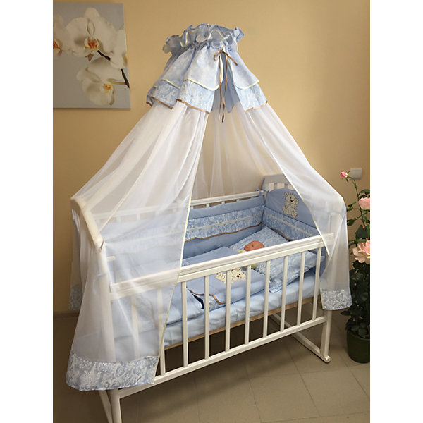 Комплект в кроватку Мишка 6 предметов, GulSara, голубойПостельное белье в кроватку новорождённого<br>Комплект в кроватку. Ткань: бязь, вуаль.<br>-комплект бортов 360*40*55 <br>-простынь 100*140 <br>-пододеяльник 110*140 <br>-наволочка 40*60 <br>-подушка 40*60 <br>-балдахин вуаль 400*160<br>Ширина мм: 620; Глубина мм: 113; Высота мм: 510; Вес г: 2500; Возраст от месяцев: 0; Возраст до месяцев: 36; Пол: Мужской; Возраст: Детский; SKU: 5465331;