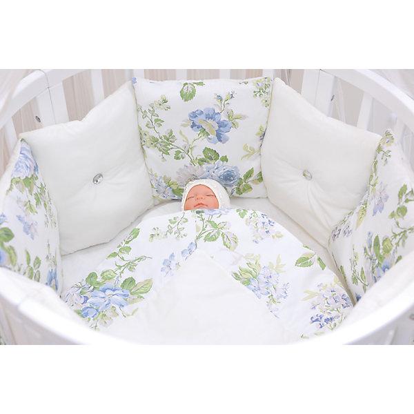 GulSara Комплект в круглую кроватку 6 предметов GulSara, Цветы, белый комплект в кроватку