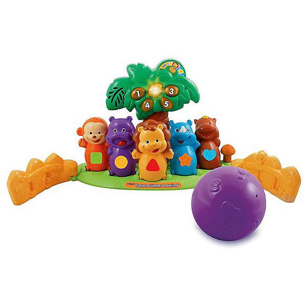 Боулинг с животными Африки, VtechИнтерактивные игрушки для малышей<br>Характеристики:<br><br>• Материал: пластик <br>• Комплектация: платформа-подставка, кегли, шар для боулинга<br>• Наличие музыки<br>• Световые эффекты<br>• 2 режима игры<br>• Отсутствие острых углов<br>• Батарейки: 2 шт. типа АА (предусмотрены в комплекте)<br>• Размер упаковки (Д*Ш*В): 31*13*43 см<br>• Вес: 1 кг 280 г<br>• Подарочная упаковка<br>• Особенности ухода: допускается сухая и влажная чистка<br><br>Боулинг с животными Африки, Vtech – это многофункциональная интерактивная игрушка от французского производителя, который является мировым лидером по выпуску электронных обучающих устройств и игрушек. Набор для игры боулинг состоит из платформы-основания, на котором расположены яркие кегли в образе животных Африки, и фиолетового шара. На платформе расположена пальма, на которой загорается количество сбитых кеглей. Сбоку предусмотрен рычаг, с помощью которого кегли возвращаются в исходное положение и обнуляется счет.<br><br>Боулинг с животными Африки, Vtech можно купить в нашем интернет-магазине.<br>Ширина мм: 457; Глубина мм: 330; Высота мм: 135; Вес г: 1550; Возраст от месяцев: 36; Возраст до месяцев: 60; Пол: Унисекс; Возраст: Детский; SKU: 5471069;