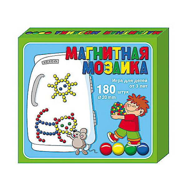 Мозаика магнитная, 180 элементов, Десятое королевствоОбучающие игры<br>Мозаика магнитная, 180 элементов, Десятое королевство<br><br>Характеристики:<br><br>• В комплекте: 180 элементов, магниты, схема<br>• Количество цветов: 4<br>• Форма магнитов: круглые<br>• Возраст: от 5 лет<br><br>Эта универсальная мозаика позволит ребенку развить свои творческие способности, мелкую моторику и подарит много часов увлекательной игры! В набор входит 180 пластмассовых элементов различных цветов, а так же магниты. Из этих деталей можно составлять любые рисунки, какие только можно придумать или воспользоваться схемой на упаковке набора.<br><br>Мозаика магнитная, 180 элементов, Десятое королевство можно купить в нашем интернет-магазине.<br>Ширина мм: 200; Глубина мм: 175; Высота мм: 35; Вес г: 280; Возраст от месяцев: 36; Возраст до месяцев: 60; Пол: Унисекс; Возраст: Детский; SKU: 5471708;