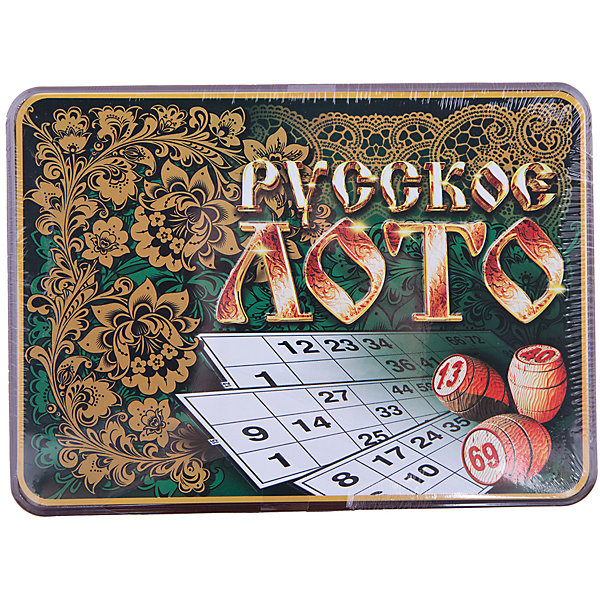 Русское лото в коробке Русские узоры, Десятое королевствоСпортивные настольные игры<br>Русское лото в коробке Русские узоры, Десятое королевство<br><br>Характеристики: <br><br>• Возраст: от 7 лет<br>• Материал: картон, пластик, дерево, текстиль<br>• В комплекте: 24 карточки, 90 бочонков, 150 жетонов, 2 мешочка, жестяная коробка<br><br>Эта увлекательная старинная русская игра будет интересна детям от 7 лет. В комплекте идут 90 бочонков, 24 карточки, 150 жетонов, 2 мешочка и жестяная коробка, которая будет отлично смотреться в шкафу. Благодаря простоте ее правил и возможности играть в компании, лото снискало себе популярность у людей всех возрастов. <br><br>Русское лото в коробке Русские узоры, Десятое королевство можно купить в нашем интернет-магазине.<br>Ширина мм: 225; Глубина мм: 165; Высота мм: 65; Вес г: 1037; Возраст от месяцев: 84; Возраст до месяцев: 2147483647; Пол: Унисекс; Возраст: Детский; SKU: 5473720;