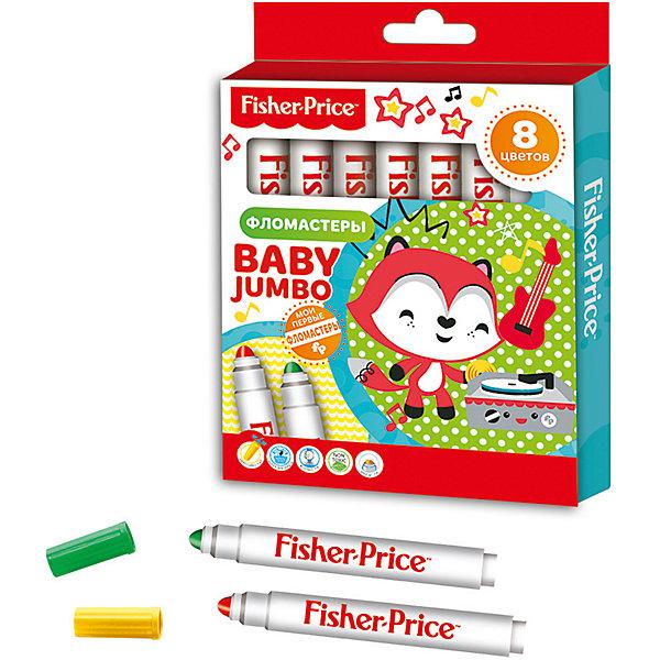 Фломастеры детские Baby Jumbo с закругленным наконечником, 8 цветов, Fisher PriceФломастеры<br>Характеристики детских фломастеров Baby Jumbo с закругленным наконечником:<br><br>• тип: набор фломастеров<br>• состав: пластик<br>• пол: для мальчиков и девочек<br>• размеры: 1.8х12.6х16.5 см<br>• бренд : Limpopo<br>• страна обладатель бренда: США<br>• страна изготовления: Китай<br><br>Фломастеры детские с утолщенным корпусом Jumbo и закругленным наконечником. Специальное строение наконечника позволяет маленьким детям держать фломастер в кулачке и без труда рисовать под любым углом. <br><br>Детские фломастеры Baby Jumbo с закругленным наконечником торговой марки Limpopo можно купить в нашем интернет-магазине.<br>Ширина мм: 165; Глубина мм: 180; Высота мм: 126; Вес г: 125; Возраст от месяцев: 0; Возраст до месяцев: 72; Пол: Унисекс; Возраст: Детский; SKU: 5475458;