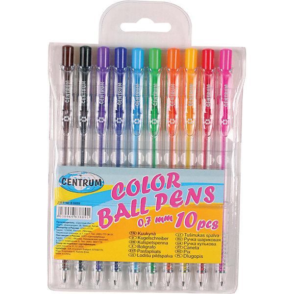 CENTRUM Набор 10 цветных шариковых ручек 0,7 мм набор ручек berlingo f 10 автоматических шариковых 4шт синие 0 7мм