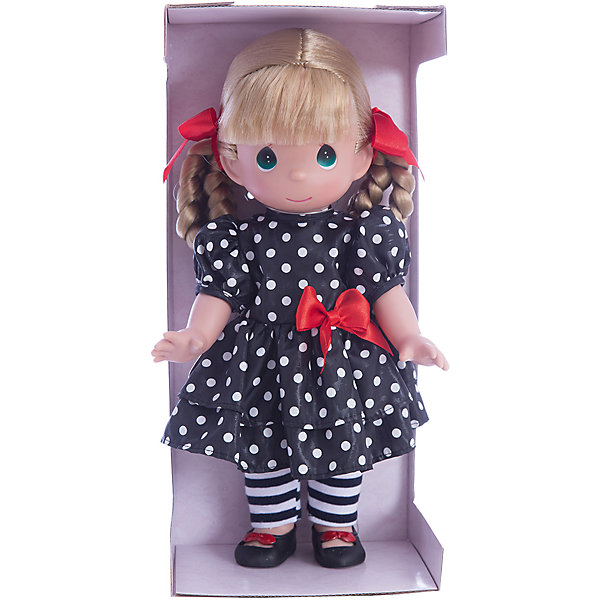 Кукла Мода навсегда, 30 см, Precious MomentsКуклы<br>Характеристики товара:<br><br>• возраст: от 5 лет;<br>• материал: винил, текстиль;<br>• высота куклы: 30 см;<br>• размер упаковки: 30х18х12 см;<br>• вес упаковки: 470 гр.;<br>• страна производитель: Филиппины.<br><br>Кукла «Мода навсегда» Precious Moments — коллекционная кукла с выразительными карими глазками и светлыми волосами, заплетенными в косички. Куколка одета в черное платье в белый горошек и полосатые колготки. У куклы имеются подвижные детали. Она выполнена из качественного безопасного материала.<br><br>Куклу «Мода навсегда» Precious Moments можно приобрести в нашем интернет-магазине.<br>Ширина мм: 140; Глубина мм: 300; Высота мм: 80; Вес г: 428; Возраст от месяцев: 36; Возраст до месяцев: 2147483647; Пол: Женский; Возраст: Детский; SKU: 5482508;