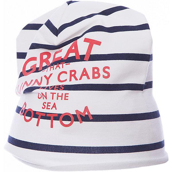 Шапка для девочки GulliverДемисезонные<br>Вязаная шапка в полоску красиво завершит образ, сделав его новым, свежим, интересным. Если вы хотите сформировать модный позитивный весенне-летний гардероб юной леди, полосатая шапка с изящным руликом, ярким принтом и контрастным брендированным флажком - отличный выбор.<br>Состав:<br>95% хлопок      5% эластан<br>Ширина мм: 89; Глубина мм: 117; Высота мм: 44; Вес г: 155; Цвет: синий; Возраст от месяцев: 24; Возраст до месяцев: 36; Пол: Женский; Возраст: Детский; Размер: 50,52; SKU: 5483735;