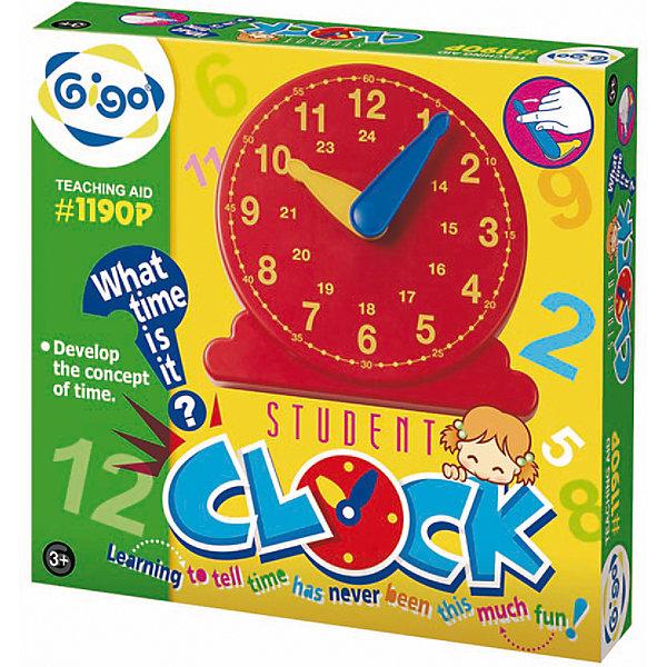 Конструктор Student clockРобототехника и электроника<br>Конструктор Student clock.<br><br>Характеристики:<br><br>• В наборе: часы, подставка<br>• Материал: пластик<br>• Упаковка: картонная коробка<br>• Размер упаковки: 14,5 х 3 х 14 см.<br><br>Конструктор Gigo Student Clock (Маленькие часы) обучит ребенка определению времени по часам. Большая и маленькая стрелка часов соединены с шестеренками, которые находятся в зацеплении так, что когда большая стрелка делает один оборот, маленькая переходит на следующий час, точно как в настоящих часах. <br><br>Часы имеют четкий циферблат, а также дополнительные цифры, позволяющие разделить время суток на 24 часа. Стрелки часов легко двигаются вручную, благодаря чему ребенок может выполнять различные задания, придуманные родителями. Часы имеют подставку и их можно установить на стол.<br><br>Конструктор Student clock можно купить в нашем интернет-магазине.<br>Ширина мм: 144; Глубина мм: 40; Высота мм: 26; Вес г: 105; Возраст от месяцев: 72; Возраст до месяцев: 2147483647; Пол: Унисекс; Возраст: Детский; SKU: 5489047;
