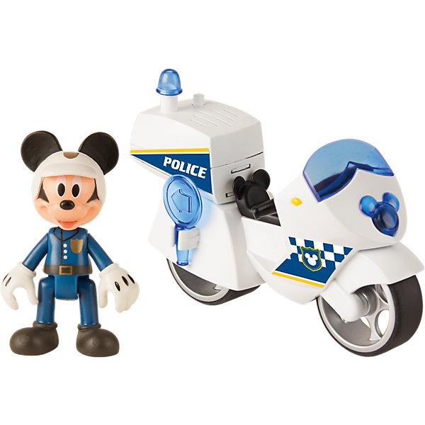 IMC Toys Disney Игровой набор Микки и весёлые гонки: Полицейский байк (8 см, фиг. 8 см, свет, звук, аксесс.) imc toys disney мягкая игрушка микки и весёлые гонки поцелуй от микки 34 см интеракт звук