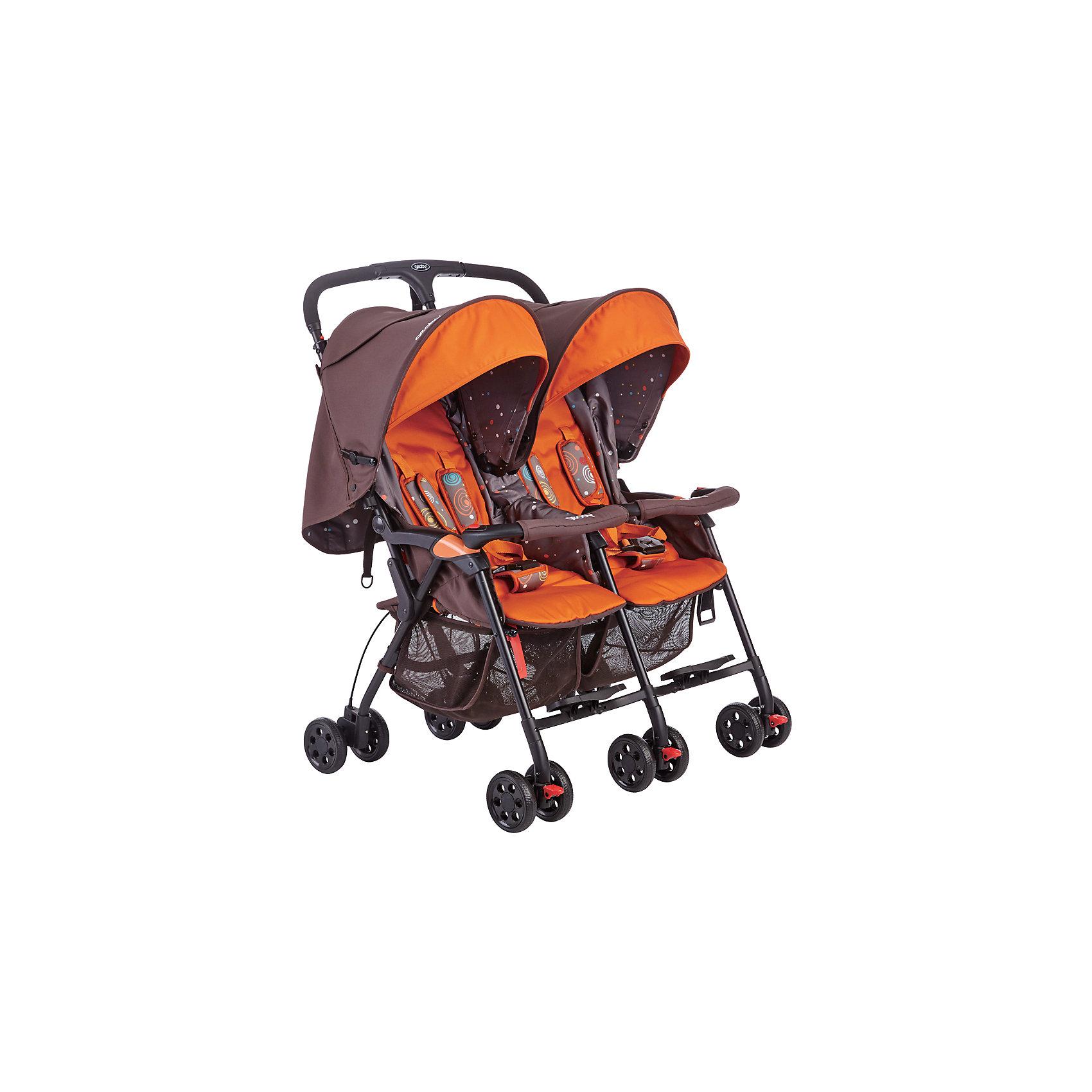 Прогулочная коляска для двойни Geoby 05SD593E, коричнево-оранжевый